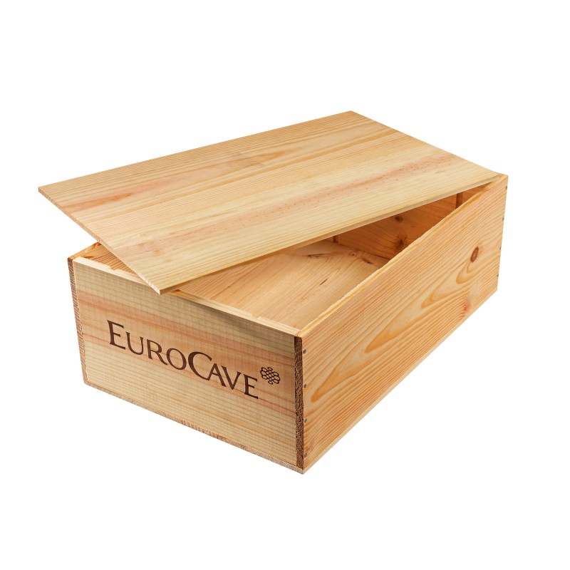 Wooden case for storing 12 bottles of wine eurocave for Meuble caisse vin
