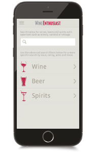 Designed by the team at Wine Enthusiast Magazine, the app allows users to search effortlessly over 200,000 ratings listed by score, price and region.