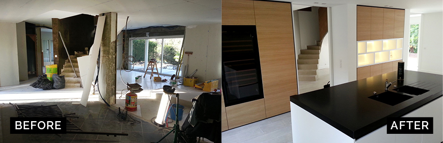 Before/after photo report of the kitchen renovation project by Anthony Gelin, interior architect and designer.