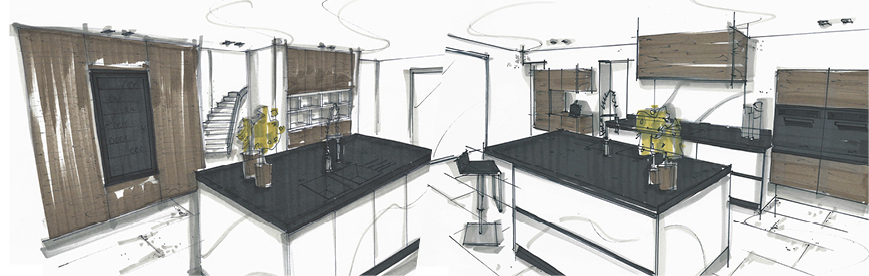 Initial sketches of the kitchen renovation project - Anthony Gelin - interior architect and designer