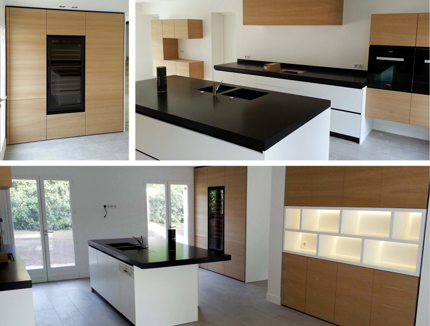 Photo report of the kitchen renovation project with with incorporation of a EuroCave wine cabinet by Anthony Gelin, interior architect and designer - materials : wood veneer, black granite, white furnitures.
