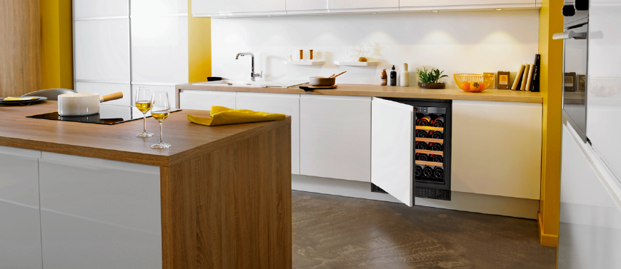 Technical door to adapt your kitchen design on your flush-fitted wine cabinet