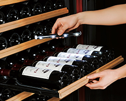 Wine cabinet - detachable lighting for easy reading the wine bottle labels.