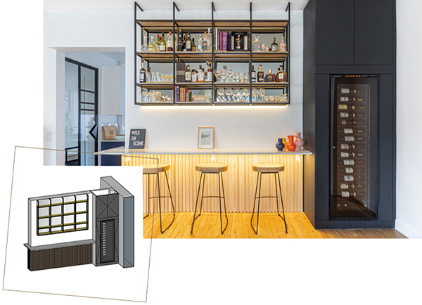 Design of a bespoke wine storage area in the living room with a EuroCave wine cabinet. 3D design.