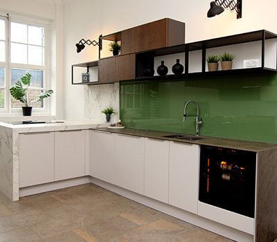 Portfolio - example of installation of a wine cabinet at the LWK Kitchens's showroom in London.