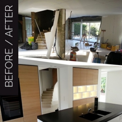 BEFORE/AFTER – Kitchen renovation with incorporation of a wine cabinet.